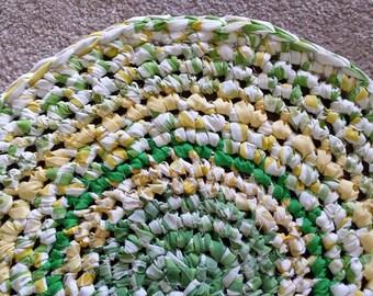Artisan Crochet Rag Rug Cottage Shabby Chic Sunshine on Grass Textile Art Gypsy Eco Friendly Nursery Kitchen Pet Mat Eco Friendly Dorm Baby