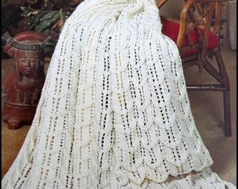 Knit Afghan Pattern, Fisherman Ripple, Adult Throw, Lap Blanket Pattern