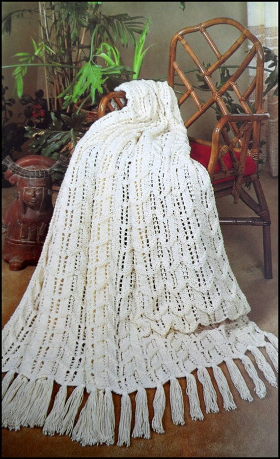 Knit Afghan Pattern Fisherman Ripple Adult Throw Lap