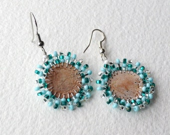 Beaded Birch Bark Earrings - Native Made - Coin Size - Free Shipping