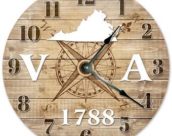 VIRGINIA Established in 1788 Compass Map Clock - Large 10.5 inch Clock - Wall Clocks Round Circle Clock Rustic State Clock - VA State