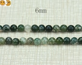 15 inch strand of Moss Agate smooth round beads 6mm