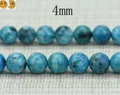 15 inch strand of Blue Calamine smooth round beads 4 mm