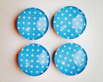 SALE! Glass Magnets - Set of 4 - Magnets - Fridge Magnets - Kitchen Magnets - Office Magnets - blue and white - polka dot - Magnet set