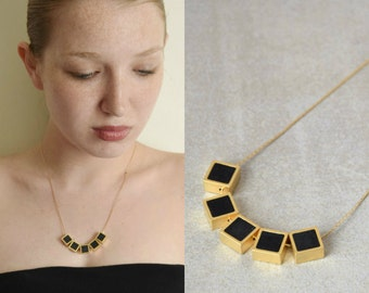 Squares necklace, Polymer clay necklace, Modern geometric necklace, Fashion necklace, Statement necklace, Gold and black necklace