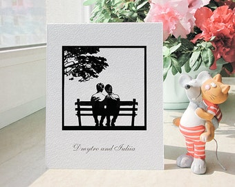 Personalized Greeting Card Gay Couple on a Bench Handmade