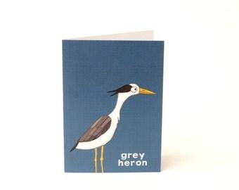 Heron greetings card - illustrated notecard - bird lover - bird card - heron card - illustrated heron - water bird card