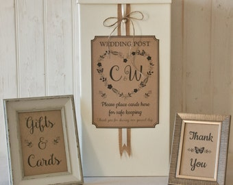 Personalised Wedding Card Post Box Hessian twine ROMANCE Gifts & Cards SIGNS