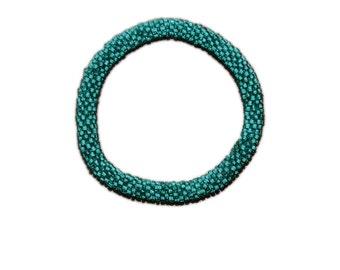 Neon Sea Green Crocheted Beaded Bracelet, Made in Nepal, Handmade, Summer, Neon