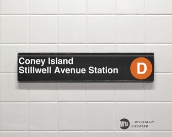 Coney Island Stillwell Avenue Station - New York City Subway Sign - Wood Sign