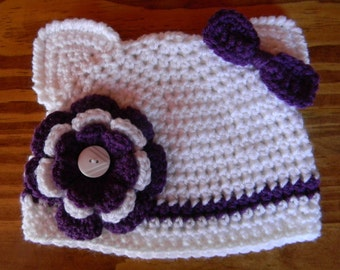 Crochet Kitty Cat Hat With A Flower And A Bow Attached - Made To Order