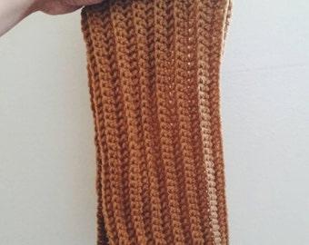 Handmade Crochet Neckwarmer Cowl in Camel Brown
