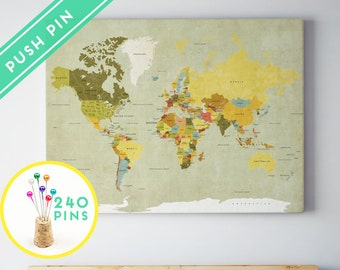 Push Pin World Map CANVAS World Map Watercolor Blue by Macanaz