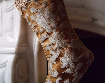 Luxury Christmas Stocking Bronze & Silver Silk Jacquard Rubelli Fabric Les Indes Galantes Pattern - Made in Italy