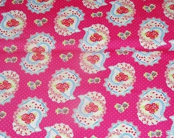 0,5 x 1,45 m cotton fabric PAISLEY ROSES pink, 100% cotton