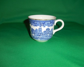 """One (1), 3"""", Flat Tea Cup with Gold Trim, from Brendan-Arklow, in the Willow Pattern."""