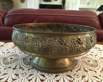 Vintage Brass Bowl, Mid Century, Rustic, Grapevine Pattern, Aged Patina, Home Decor, Rustic, Brass Pedestal Bowl, Fall Decor, Grapevines