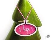 Pink Christmas Ornaments, Gift Exchange, Hope Embroidery Hoop Art, Chic Christmas Decor, Boho Christmas Ornament, Glittery Pink Christmas