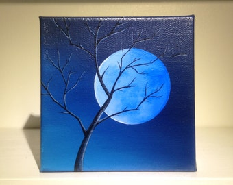 Painting, Wall Art, Home Decor, Tree Art, Full Moon. Free Shipping in the US!