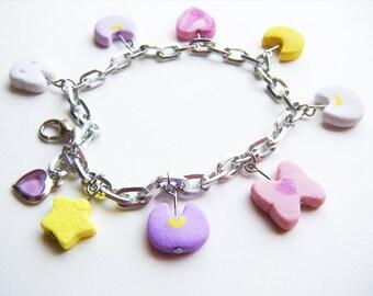 Sailor Moon: -inspired- Kawaii Pastel Moonie Marshmellow charm bracelet