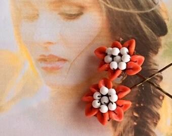 Decorative Hair Pins Jewery 1960's Orange Glass Flower  Hairpins Bobby Pins