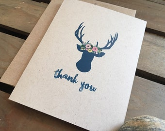 Personalized cards - CUSTOM - Deer Antlers - Flowers - Stationery - Recycled  - Eco - Thank You - Name - Any Occasion - Set of 8 Notecards