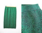 RESERVED//////Vintage 80s Green Metallic Wool Blend Knit Pencil Skirt Knee Length Wiggle Mermaid