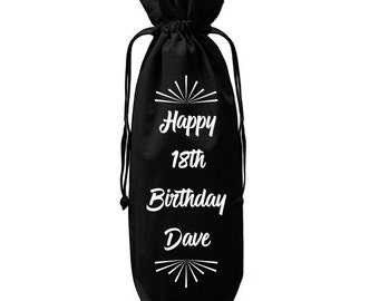 Personalised Big Birthday Drawstring Wine Bags