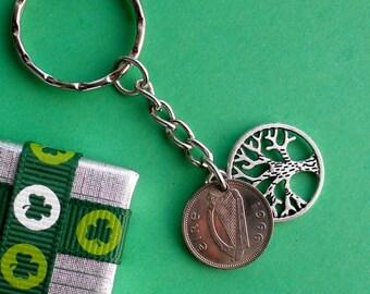 Ireland 51st Birthday Keyring, 1966 Coin Keychain with Tree of Life charm, Zipper Pull Bag Charm, Irish Rabbit 3d. 1928 - 1968 Leat Reul