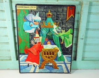 Vintage Walt Disney's Sleeping Beauty Frame-Tray Picture Puzzle Whitman