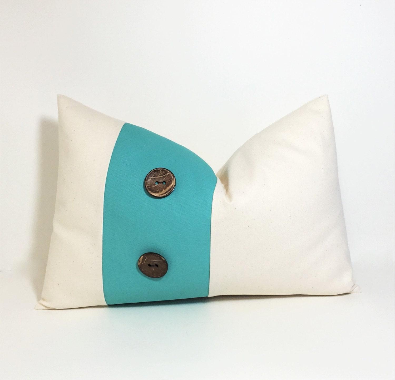 Button pillow cover. Aqua on natural colorblock lumbar.