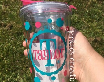 Scalloped Circle Name Personalized Double Wall Tumbler Cup