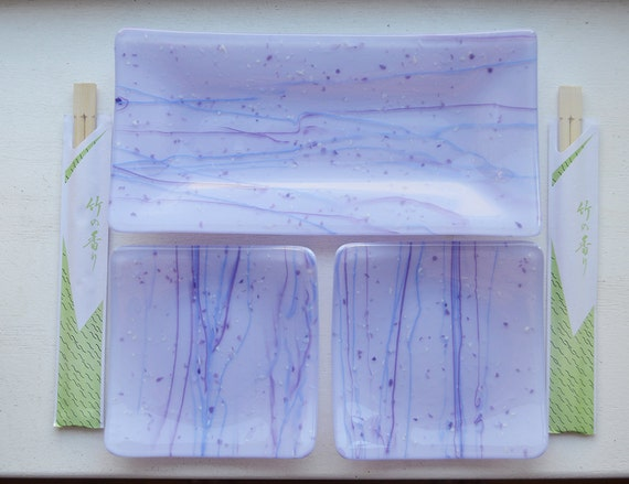 Lavender/Purple Glass Fused Dish Set