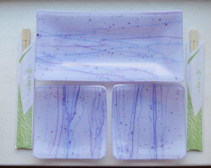 Lavender/Purple Fused Glass Sushi Dish Set