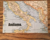 Reserved for Mary. Vintage Mediterranean Map. Italy. 5x7. Free U.S. Shipping.