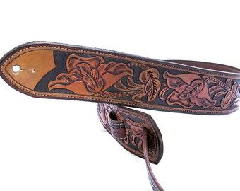 Handmade Leather California Poppy Tooled Guitar Strap