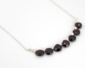 Garnet and Sterling Silver necklace / January Birthstone / N53 / Garnet Heart Briolette / Bar Necklace