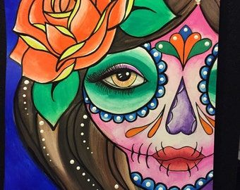 Lady with Orange Rose Dia de los Muertos painting