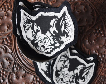 Handmade, Screen Printed Fabric Apparel Bat Patch
