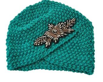 Teal Embellished Knit Turban