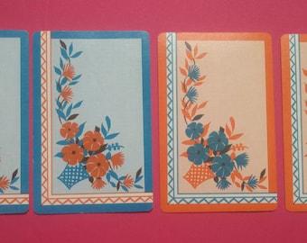 4 vintage playing cards blue/orange design (E2-222-1)