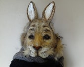 Paper mache rabbit mask Halloween mask  Masquerade mask Animal mask Mens Masquerade Hare mask Bunny mask Rabbit costume
