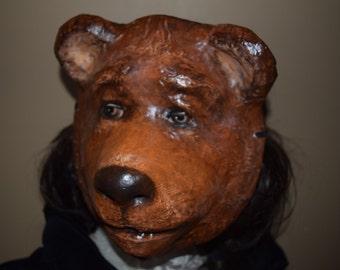 Animal head mask, Bear mask, Animal head mask, masquerade mask, Halloween mask, bear costume