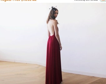 Bordeaux halter-neck maxi gown, Backless maxi red dress, Bridesmaids wine red maxi dress