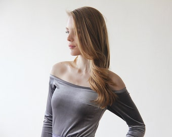 Grey velvet off-shoulder top , Long sleeves velvet blouse, Grey velvet blouse