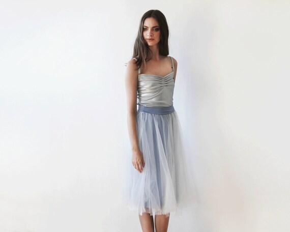 Lady Angel Free Shipping Short Beige Chiffon Bridesmaid: Tulle Midi Length Grey Skirt Knee Length Light By BLUSHFASHION