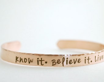 Inspirational Jewelry - Believe It - Hand Stamped Cuff Bracelet - Inspirational Gift for Women - Graduation Jewelry - Believe Faith Bracelet