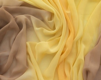 "ℳ Honey to Sunshine Yellow  Ombre Chiffon 60"" FC12700 Fabric By The Yard, 1 yard"