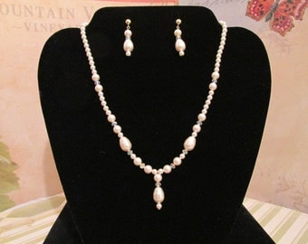 TEARDROP Pearl Necklace SWAROVSKI Creamrose Crystals 14K Gold Fill and Plated Metals