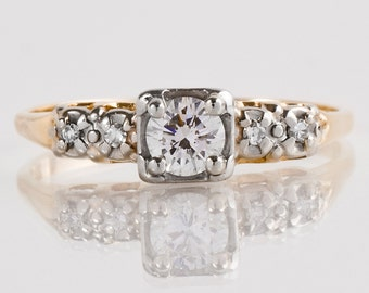 Vintage Engagement Ring - Vintage Two-Tone Diamond Engagement Ring